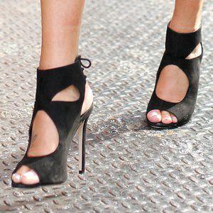 👠 AQUAZZURA Suede Sexy Things Sandals in Black